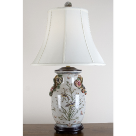 Porcelain Lamp with Silk Shade - Aviary Elegance Pattern - 30 Inches Tall