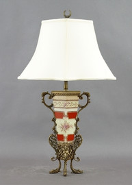 Floral Majesty Pattern - Luxury Hand Painted Porcelain and Gilt Bronze Ormolu - 31 Inch Lamp