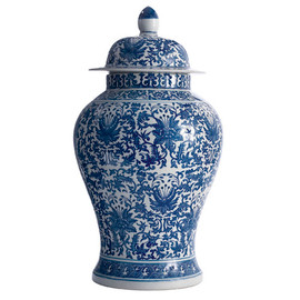 Blue and White Pattern - Fine Hand Painted Porcelain - 18 Inch Temple Jar - Lotus Flower Motif