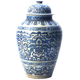 Blue and White Pattern - Fine Hand Painted Porcelain - 23.5 Inch Oversized Temple Jar - Floral Motif