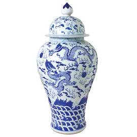 Blue and White Pattern - Fine Hand Painted Porcelain - 36.5 Inch Oversized Temple Jar - Dragon Motif