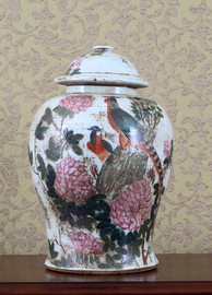 Pheasant and Flower Pattern - Luxury Hand Painted Porcelain - 16 Inch Temple Jar
