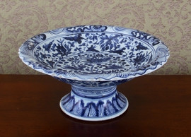 Blue and White Pattern - Luxury Hand Painted Porcelain - 16.25 Inch Pedestal Bowl | Compotier