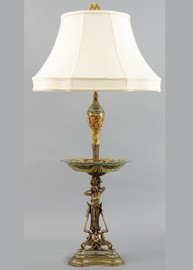 Blooming Flower Pattern - Luxury Hand Painted Porcelain and Gilt Bronze Ormolu - 42 Inch Lamp