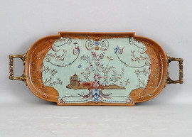 Fantasia Pattern - Luxury Hand Painted Porcelain and Gilt Bronze Ormolu - 19 Inch Tray