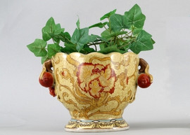 Blooming Flower Pattern - Luxury Hand Painted Porcelain - 10 Inch Planter