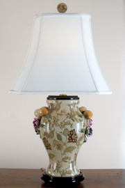 30 Inch Porcelain Lamp with Silk Shade - Blooming Flower Pattern