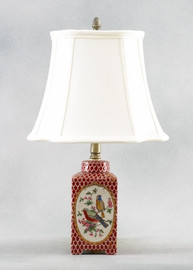 Birds of a Feather Pattern - Luxury Hand Painted Porcelain - 19 Inch Lamp