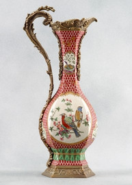 Birds of a Feather Pattern - Luxury Hand Painted Porcelain and Gilt Bronze Ormolu - 21 Inch Pitcher
