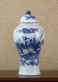 Blue and White Warrior Pattern - Luxury Hand Painted Porcelain - 18 Inch Covered Jar