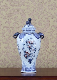 Blue and White - Luxury Hand Painted Porcelain - 13 Inch Temple Jar