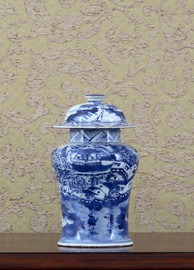 Blue and White - Luxury Hand Painted Porcelain - 7.5 Inch Temple Jar