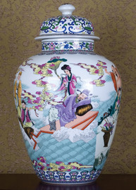 Geisha and Warrior Pattern - Luxury Hand Painted Porcelain - 24 Inch Temple Jar