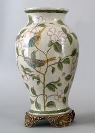 Songbirds - Luxury Hand Painted Porcelain and Gilt Bronze Ormolu - 15 Inch Vase