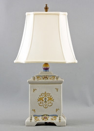 Crested Urn Pattern - Luxury Hand Painted Porcelain - 26 Inch Lamp