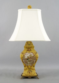French Countryside Pattern - Luxury Hand Painted Porcelain and Gilt Bronze Ormolu - 29 Inch Lamp