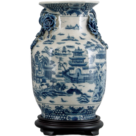 Blue and White Pagoda Porcelain Mantle Vase with Wooden Stand