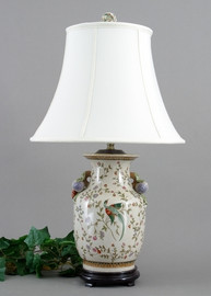 Avian and Floral Pattern - Luxury Hand Painted Porcelain - 28 Inch Lamp 751 ND