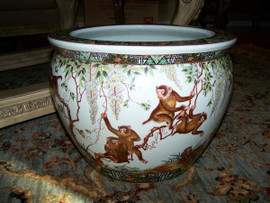 Merry Monkeys - Luxury Handmade and Painted Reproduction Chinese Porcelain - 18 Inch Fish Bowl, Planter Style 35