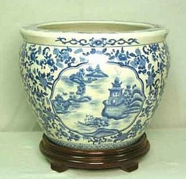 Blue and White Pagoda - Luxury Handmade and Painted Reproduction Chinese Porcelain - 14 Inch Fish Bowl, Planter Style 35