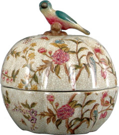 """White Crackle with Pink and Blue Porcelain Decorative Box 6"""""""
