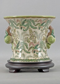 Classic Fern Pattern - Luxury Hand Painted Porcelain - 8 Inch Planter