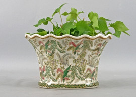 Classic Fern Pattern - Luxury Hand Painted Porcelain - 10 Inch Scalloped Edge Planter
