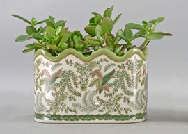 Classic Fern Pattern - Luxury Hand Painted Porcelain - 8 Inch Scalloped Edge Planter