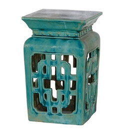 Finely Finished Ceramic Garden Stool - 21t Inch Square - Antiqued Turqoise Finish