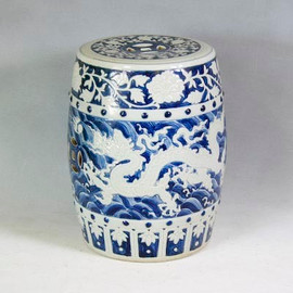 Finely Finished Ceramic Garden Stool - 17 Inch - Classic Blue and White Dragon Design