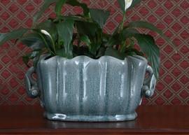 Celadon - Luxury Hand Painted Porcelain - 11.5 Inch Scalloped Shell Footbath, Planter