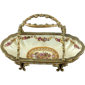 Subtle Violets Pattern - Luxury Hand Painted Porcelain and Gilt Bronze Ormolu - 7 Inch Basket Dish - Set of Two