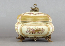 Subtle Violets Pattern - Luxury Hand Painted Porcelain and Gilt Bronze Ormolu - 6 Inch Decorative Covered Box