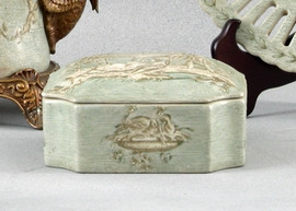 Celadon Toile Pattern - Luxury Hand Painted Porcelain - 5 Inch Decorative Box