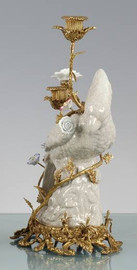 Perched Bird - Luxury Hand Painted Porcelain and Gilt Bronze Ormolu - 16.5 Inch 2 Arm Candelabra