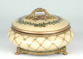 The Butterfly - Luxury Hand Painted Porcelain and Gilt Bronze Ormolu - 7 Inch Covered Box
