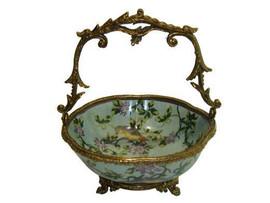 Lavish Bird Garden - Luxury Hand Painted Porcelain and Gilt Bronze Ormolu - 8 Inch Bowl