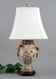 Regence Aviary Garden Pattern - Luxury Hand Painted Porcelain - 29 Inch Lamp