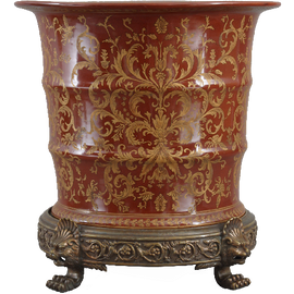 Janja Pattern - Luxury Hand Painted Porcelain and Gilt Bronze Ormolu - 15 Inch Planter