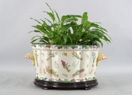 Bulbs and Butterflies Pattern - Luxury Hand Painted Porcelain - 18 Inch Footbath