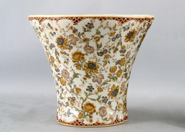 Flowers, Flowers, Flowers Pattern - Luxury Hand Painted Porcelain - 16 Inch Round Planter