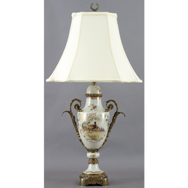 Pheasant on Display Pattern - Luxury Hand Painted Porcelain and Gilt Bronze Ormolu - 34 Inch Lamp