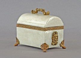 White Crackle Pattern - Luxury Hand Painted Porcelain and Gilt Bronze Ormolu - 8 Inch Decorative Container