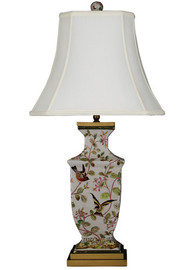 Pristine Parrots Pattern - Luxury Hand Painted Porcelain and Gilt Bronze Ormolu - 32 Inch Lamp