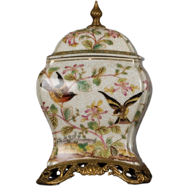 Pristine Parrots Pattern - Luxury Hand Painted Porcelain and Gilt Bronze Ormolu - 9 Inch Decorative Box