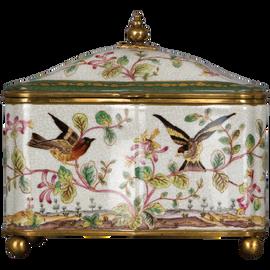 Pristine Parrots Pattern - Luxury Hand Painted Porcelain and Gilt Bronze Ormolu - 9.5 Inch Decorative Box