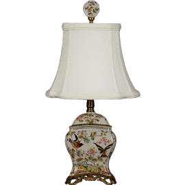 Pristine Parrots Pattern - Luxury Hand Painted Porcelain and Gilt Bronze Ormolu - 19 Inch Lamp