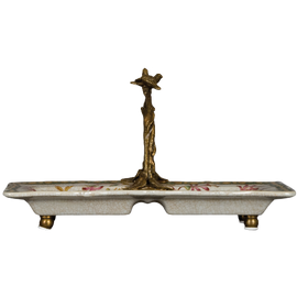 Pristine Parrots Pattern - Luxury Hand Painted Porcelain and Gilt Bronze Ormolu - 10 Inch Candy Dish
