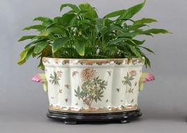 Spider Flower Pattern - Luxury Hand Painted Porcelain - 18 Inch Footbath