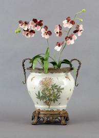 Spider Flower Pattern - Luxury Hand Painted Porcelain and Gilt Bronze Ormolu - 15 Inch Planter